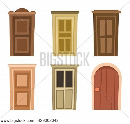 Door Is Closed. Doorway Of House Or Apartment. Entrance Is Outside. Set. Cheerful Cartoon Style. Iso