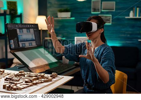 Modern Business Woman With Vr Glasses For Innovation Development Vision Using Interactive Software.