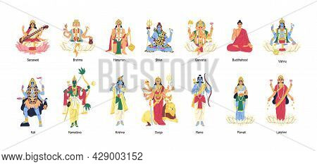 Set Of Ancient Indian Hindu Gods And Goddesses. Different Idols Of Hinduism. Deities And Lords In In