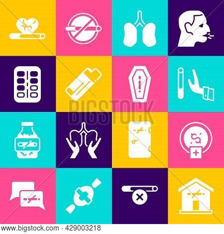 Set No Smoking At Home, Stop Smoking, Money Saving, Giving Up Cigarette, Lungs, Lighter, Nicotine Gu