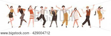 Happy People In Retro-styled Clothes Dancing To Funny Music At Gatsby Party Of 20s. Set Of Stylish C