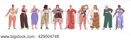 Set Of Happy Big Chubby Women With Pretty Plus-size Bodies. Diverse Plump Female Beauties With Fat C