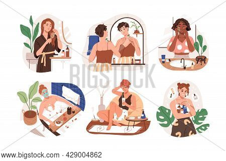 Set Of Woman During Everyday Hygiene Routine In Bathroom. Females Applying Natural Cosmetic Products