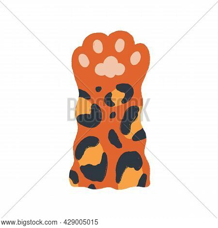 Cute Leopard Paw With Soft Gentle Pads In Doodle Style. Big Cats Hand Raised Up, Gesturing Hi. Adora