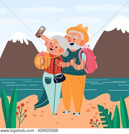Elderly People Are Photographed On The Beach Against The Background Of Mountains And The River Trave