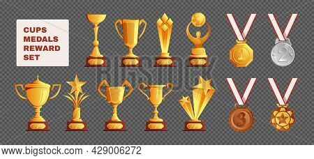 Competitions Championships Winner Prizes Trophies Cups Gold Silver Bronze Medals Awards Rewards Set