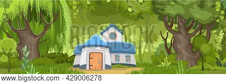 Fabulous Funny House In Clearing. Forest Meadow Landscape. Dwelling Of Gnome. Horizontal. Beautiful