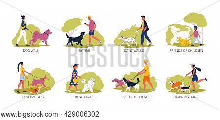 Dog Breeds Flat Compositions With People Walking Their Poodle Spitz Malamute Dalmatian Afghan Hound