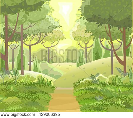 Road. Amusing Beautiful Forest Landscape. Green. Cartoon Style. The Path Through The Hills With Gras