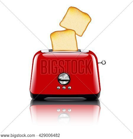 Toaster Realistic Composition With Image Of Red Plastic Toaster With Slices Of Toast Bread And Shado
