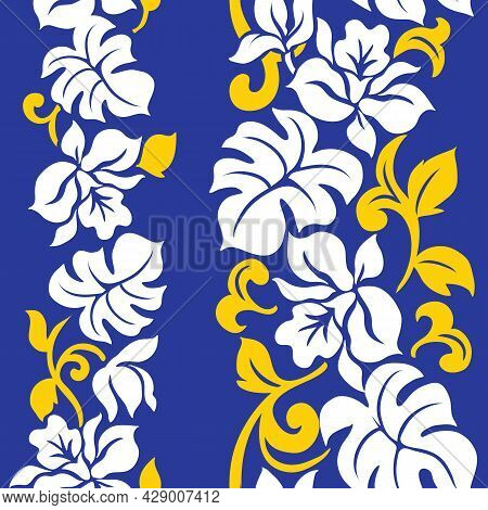 Tropical Floral Hawaiian Pattern Design With Repeat. Orchid And Monstera Vintage Pareo Style.