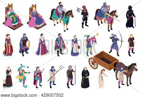 Medieval Characters Isometric Icons Set With Peasant Cnd Chivalry Symbols Isolated Vector Illustraio