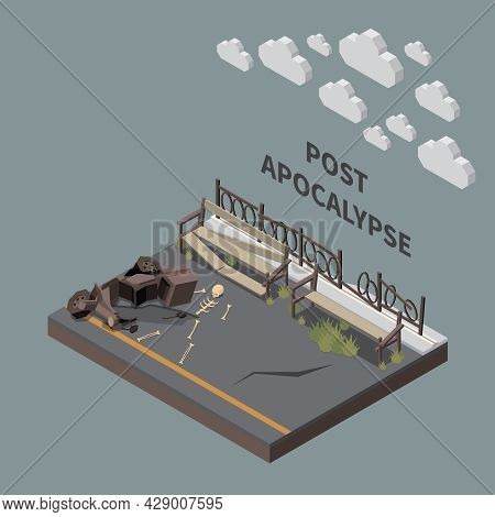 Post Apocalypse Isometric Composition With Fragment Of City Park With Broken Benches Fences And Huma