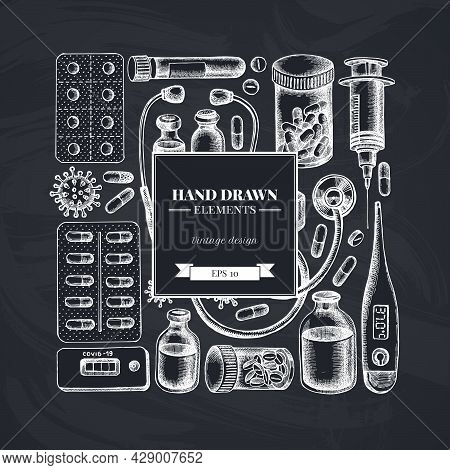 Square Design With Chalk Vial Of Blood, Pills And Medicines, Medical Thermometer, Coronavirus Rapid