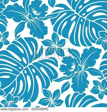 Tropical Hawaiian Pattern With Repeat With Monstera And Orchid