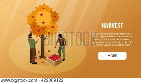 Isometric Autumn Fall Horizontal Banner With Editable Text More Button And Man With Woman Gathering