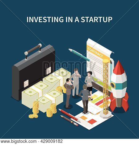 Startup Project Isometric And Colored Concept With Investing In A Startup Descriptions Vector Illust