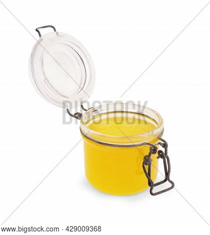 Glass Can With Honey. Clipping Paths. Health, Sugar, Tasty, Remedy, None, Sweetener, Container,