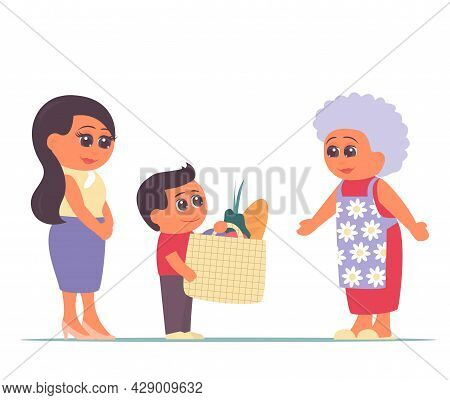 Little Grandson With Mom Brought Food To Grandmother