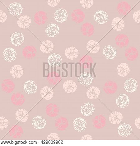 Marble Effect Circles Vector Seamless Pattern Background. Backdrop With Scattered Marbling Stencil S