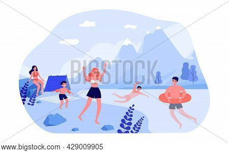 People Having Rest In Summer Nature. Flat Vector Illustration. Men And Women With Kid Sunbathing, Sw