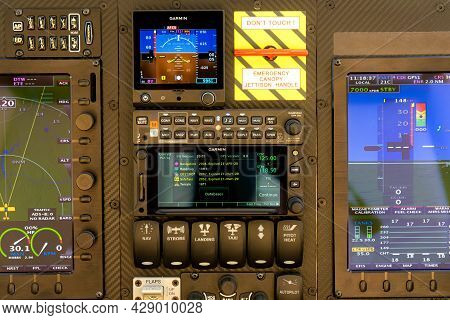 Included Control Panel In The Cockpit Of An Airplane Or Helicopter. Close-up.