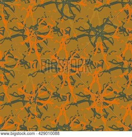 Marble Effect Texture Vector Seamless Pattern Background. Geometric Ochre Green Marbling Stencil Sty