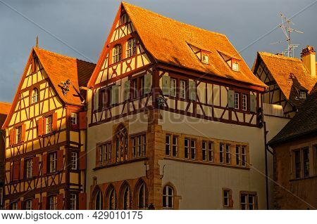 Colmar, France, June 25, 2021 : Half Timbered Houses At Sunset Light. City Has A Rich Architectural