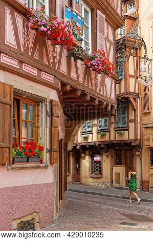 Colmar, France, June 27, 2021 : Haf Timbered Traditional House. Petite Venise Is A Picturesque Area,