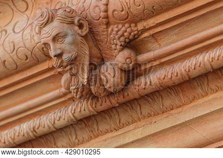 Colmar, France, June 27, 2021 : Architectural Detail Of Maison Des Tetes (heads House). This Renaiss