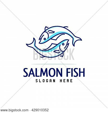 Line Art Twin Salmon Logo Design,outline Fish Logo,fresh Logo Design Vector Template Icon