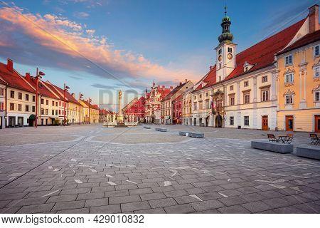 Maribor, Slovenia. Cityscape Image Of Maribor, Slovenia With The Main Square And The Town Hall At Su