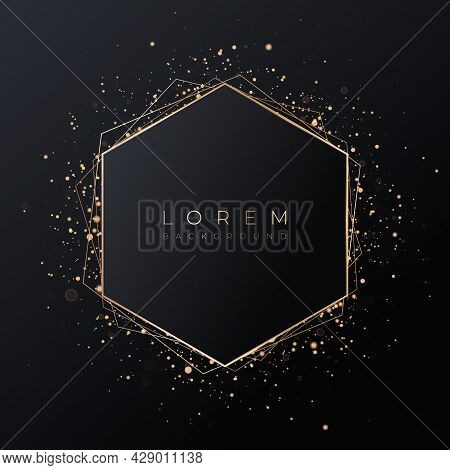 Pale Pink Hexagonal 3d Background Shape With Gold Frame And Shiny Glitter.
