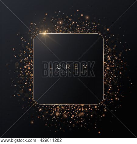Pale Pink Square 3d Background Mockup Shape With Gold Frame And Shiny Glitter.