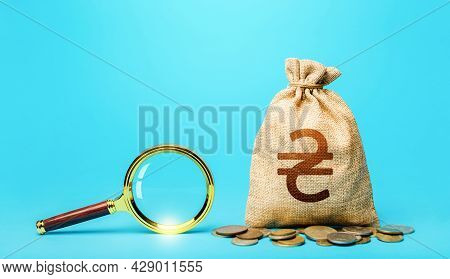 Ukrainian Hryvnia Money Bag And Magnifying Glass. Financial Audit. Search For Financing Beneficiarie