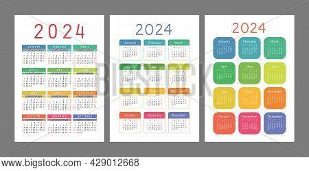 Pocket Calendar 2024 Year. Portrait Orientation. English Colorful Vector Set. Vertical Template. Des