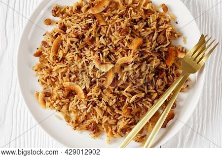 Coconut Rice, Caribbean Arroz Con Coco, Long Grain Rice Cooked With Concentrated Coconut Paste, Rais
