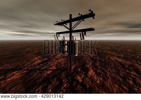 Electric Pole In The Brown Desert Surreal Scene 3d Rendering