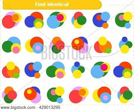 Logic Puzzle Game For Children And Adults. Find Identical Circles And Connect Them With A Line. Deve