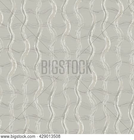 Hand Drawn Strands Of Vector Wavy Broken Fibre Strands. Seamless Grid Pattern With Vertical And Hori