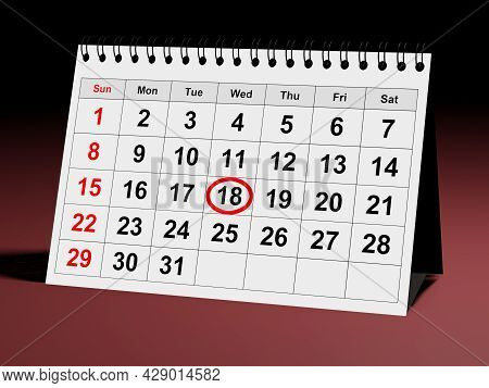 Planner Month Calendar With Planning Checked Date. 3d Rendering