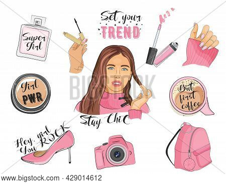 Fashion Girl Glam Icons Collection. Vector Illustration.