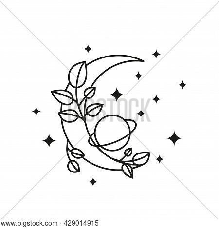 Boho Floral Crescent Moon With Planet, Leafy Branches And Stars.