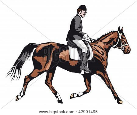 trotting horse with rider on tournament . poster