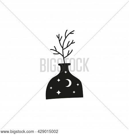 Celestial Tree Branch In Vase With Moon, Stars.