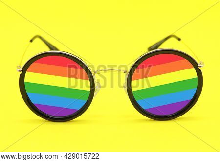 Creative With Rainbow Lenses In The Colors Of The Lgbt Flag On A Yellow Background. Rainbow, Montess