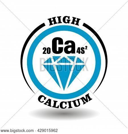 Circle Vector Icon With Chemical Calcium Symbol And Mineral Illustration Of Blue Diamond Crystal For