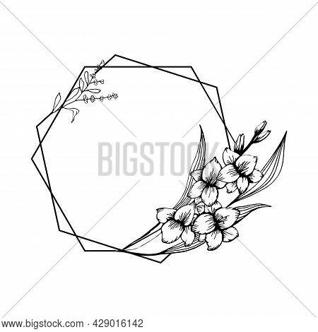 Hand Drawn Gladiolus Flower And Laveneder Geometric Frame In Cute Doodle Style. Luxury Vector Llustr