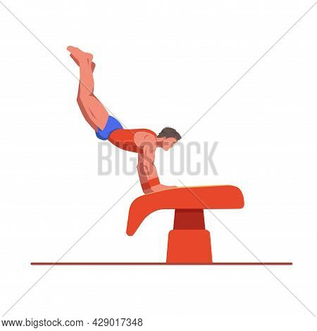 A Gymnast With An Athletic Physique Performs A Vault, Athlete Springs Onto A Vault With His Hands. V