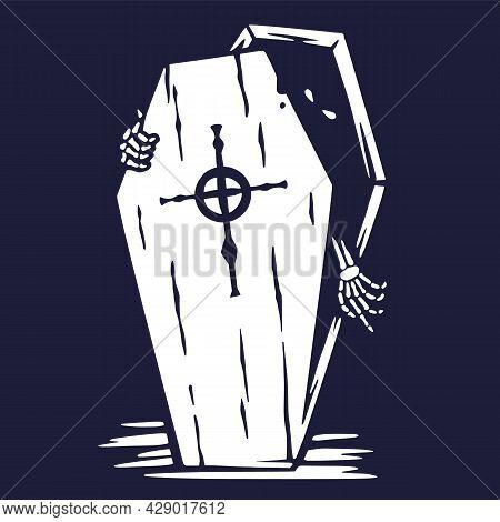 Halloween Coffin Of Skeleton, Undead Or Vampire
